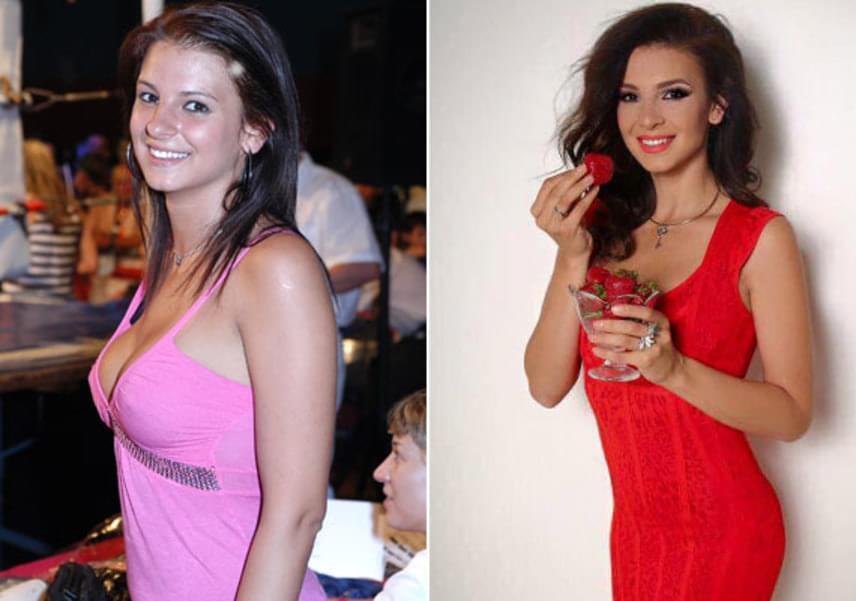 Sarka Kata 2008 májusában és 2016-ban. A bal oldali fotón látszik, az akkor 22 éves leányzónak nem volt olyan kifinomult stílusa, és pár kilóval többet is nyomott, mint manapság.