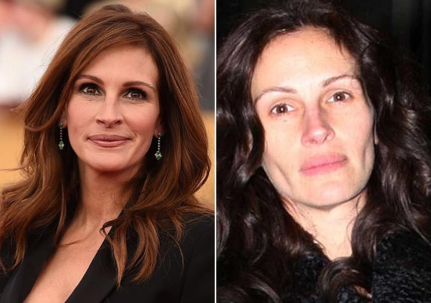 Julia Roberts a természetesség híve, nem is szívesen használ sminket a hétköznapokban. Igaz, a 48 éves színésznőnek nincs is nagy szüksége rá, így is nagyon szép az arca.