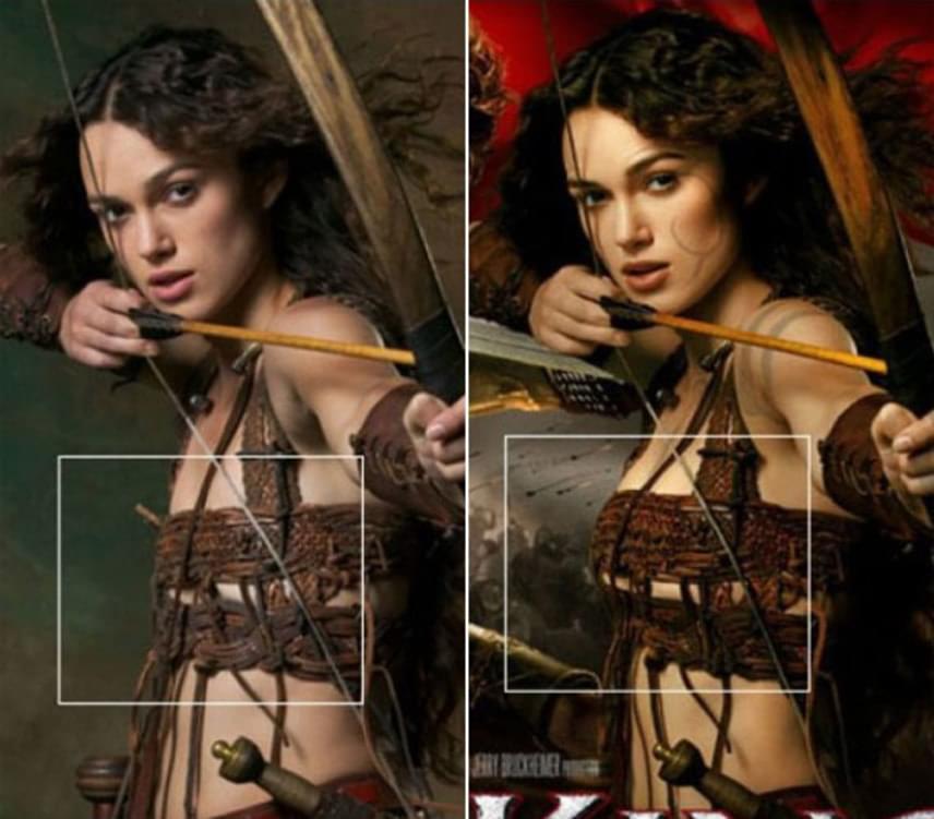 Keira Knightley mellbőségét alaposan felduzzasztották az Artúr király című történelmi kalandfilm poszterén. A rajongók ki is akadtak, a 2004-ben bemutatott film pedig megbukott a kritikusok és a nézők körében egyaránt.