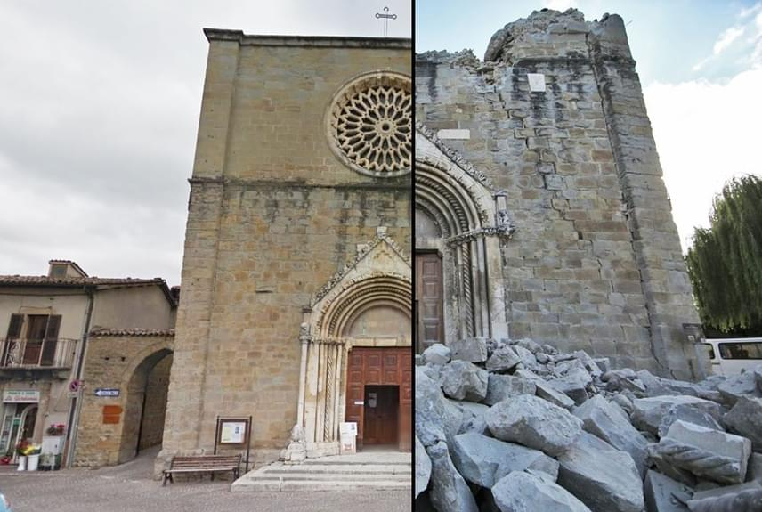 A Rómától száz kilométerre található Amatrice történelmi jelentőségű emlékei szintén törmelékeikben maradtak csak meg. A képen a Szent Ferenc-templom szerepel, a bal oldalon az épület előtt a romokban heverő utcát is láthatod. A látvány elképesztően megrendítő.