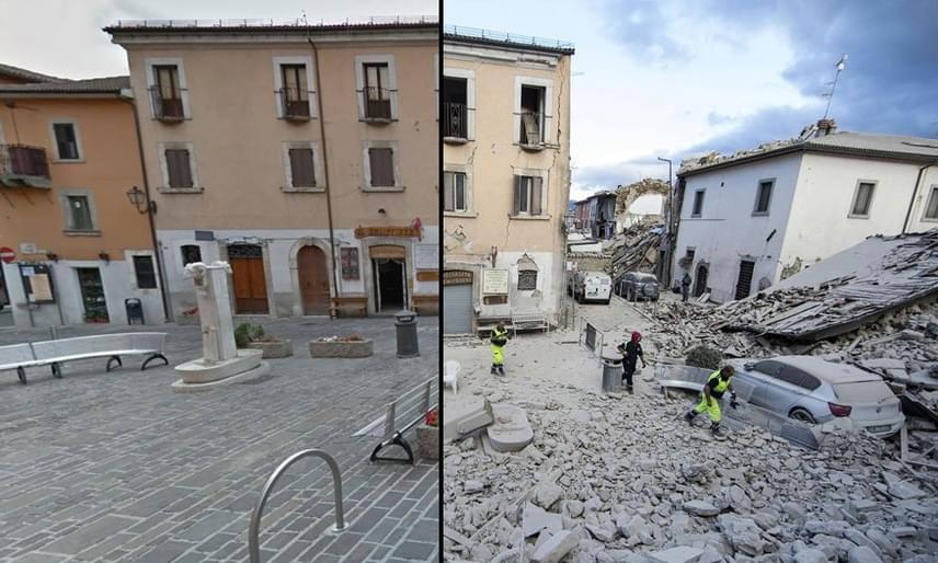 A földrengés a legnagyobb pusztítást Lazio, Abruzzo és Marche régiókban végezte, a képen Amatrice város központját láthatod. A házak romba dőltek, az utcák járhatatlanná váltak, a hatóságok mellett több túlélőt a helyiek menekítettek ki a romok alól.