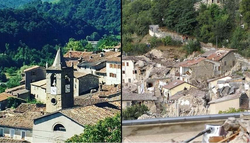 A kegyetlen földrengés a Középső-Appenninek völgyében található Pescara del Tronto nevű idilli falvacskát is romba döntötte.