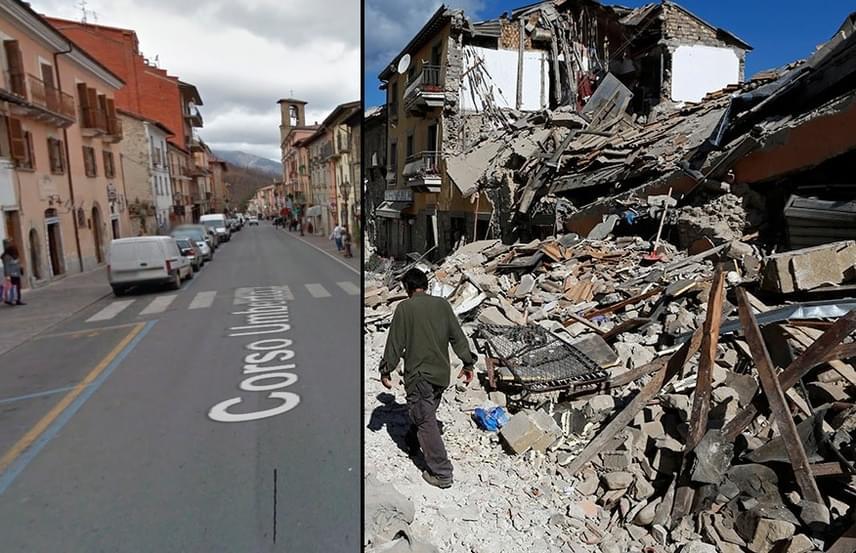 Amatrice főutcáját, a Corso Umbertót láthatod ezen a képen is a természeti katasztrófa előtti állapotában, és jelenleg, romokban heverve.