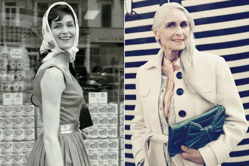 Bal oldalon Daphne Selfe egyik leghíresebb és legsikeresebb ifjúkori fotója látható, míg jobbra egy teljesen friss, Facebookra feltöltött kép. A modell ennyi idősen is elképesztően sikkes, és nagyon szívesen oszt meg magáról képeket a szociális médiában vagy saját blogján.