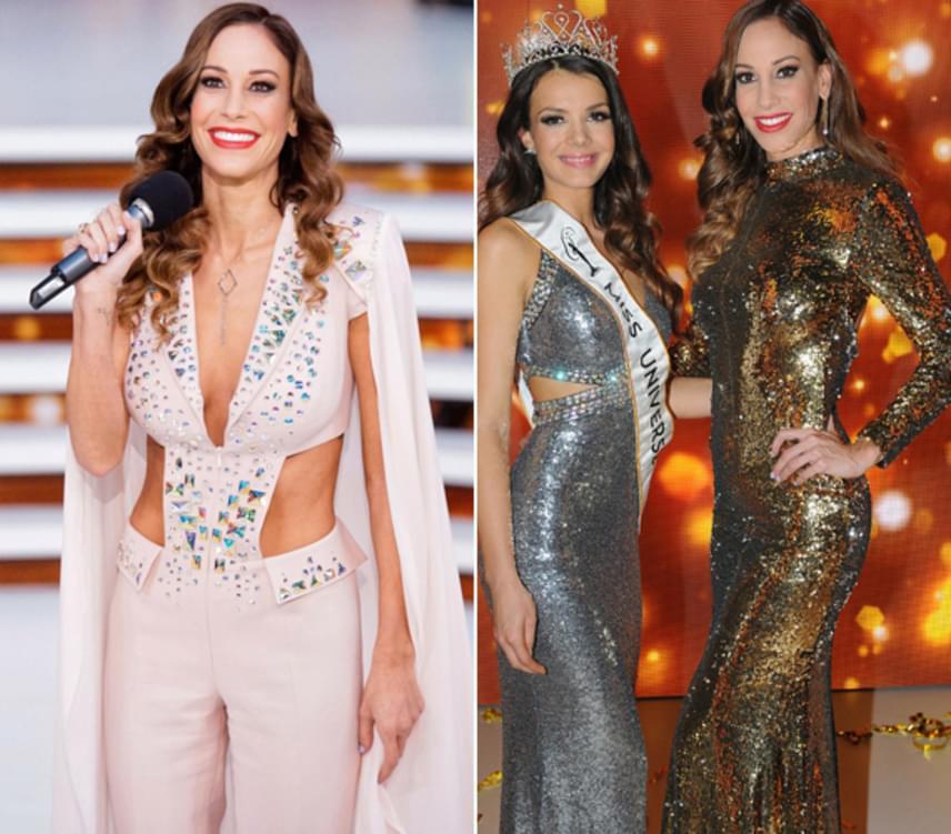 Vajna Tímea idén is kitett magáért a Miss Universe Hungary novemberi döntőjében. A szépségverseny-tulajdonos és -producer egy sokat mutató, strasszokkal díszített púderszínű kreációban jelent meg a stúdióban, majd a mélyen dekoltált darabot később egy csillogó, flitterekkel díszített estélyire cserélte.