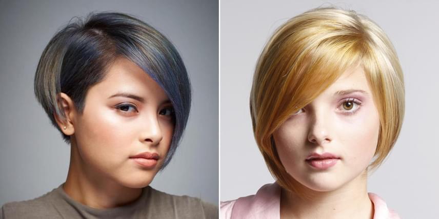 Ha kerek az arcformád, akkor az aszimmetrikus bob frizurát is állig érdemes növeszteni, és kissé befelé kell szárítani, így kontúrt biztosít az arcodnak, kiemeli a lágy, nőies vonásokat, és hangsúlyt kap a nyakad, ami optikailag slankít.