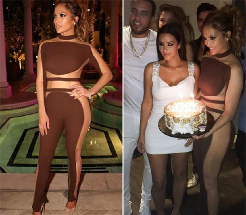 Bugyi és melltartó nélkül ünnepelte 47. születésnapját a világ egyik legdögösebb nője, Jennifer Lopez. Geszenyebarna pucérruhája szépen kiadta az énekesnő kerek idomait.
