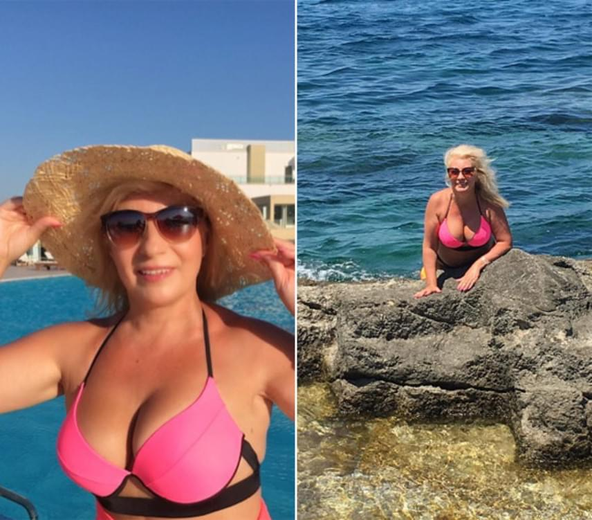 Kiszel Tünde 56 évesen bátran megmutathatja nőies idomait bikiniben - nem is szégyenlősködött sem itthon, sem Rodoszon.