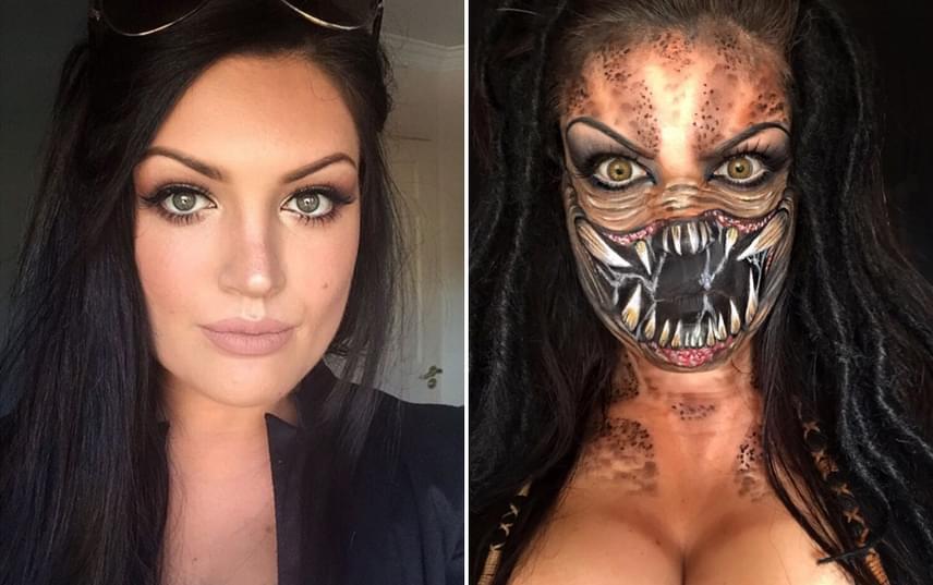 Szinte rá sem ismernél a szép arcú lányra, ha összehasonítod egy hétköznapi sminkben készült fotóját az Alien-filmek Predatorával. Natalie gyönyörű munkát végzett a szörny szájának megalkotásával, amelyet saját orrára és ajkaira festett fel.
