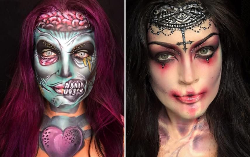 Natalie szívesen készít saját interpretációt a horror műfaj klasszikus rémlényeiről, így Instagram-oldalán az itt látható zombi és vámpírarisztokrata mellett sok hasonló szelfit találsz.