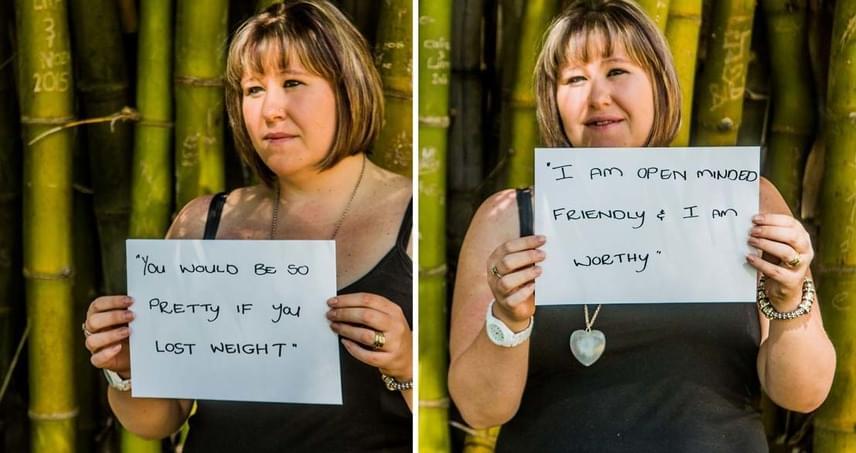 """""""Olyan csinos lennél, ha veszítenél a súlyodból!"""" Válasz: """"Elfogulatlanul barátságos vagyok. Értékes vagyok."""""""