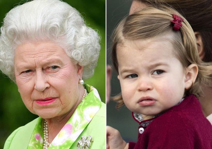 Arcformájuk és nézésük is egyforma, csak úgy, mint szemük formája. A kis Charlotte kiköpött Erzsébet, csak piciben.