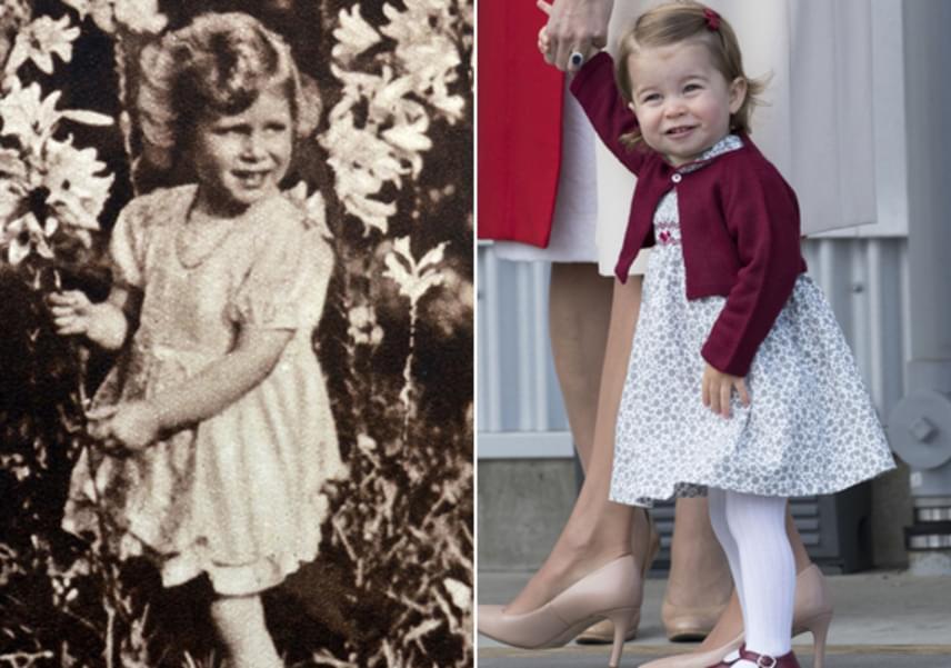 Bár Erzsébet királynőnek sokkal hullámosabb és erősebb szálú haja volt ugyanebben a korban, látszik, Charlotte hercegnő örökölte annak színét, sőt, fürtjei ugyanúgy göndörödnek, mint dédanyjának.