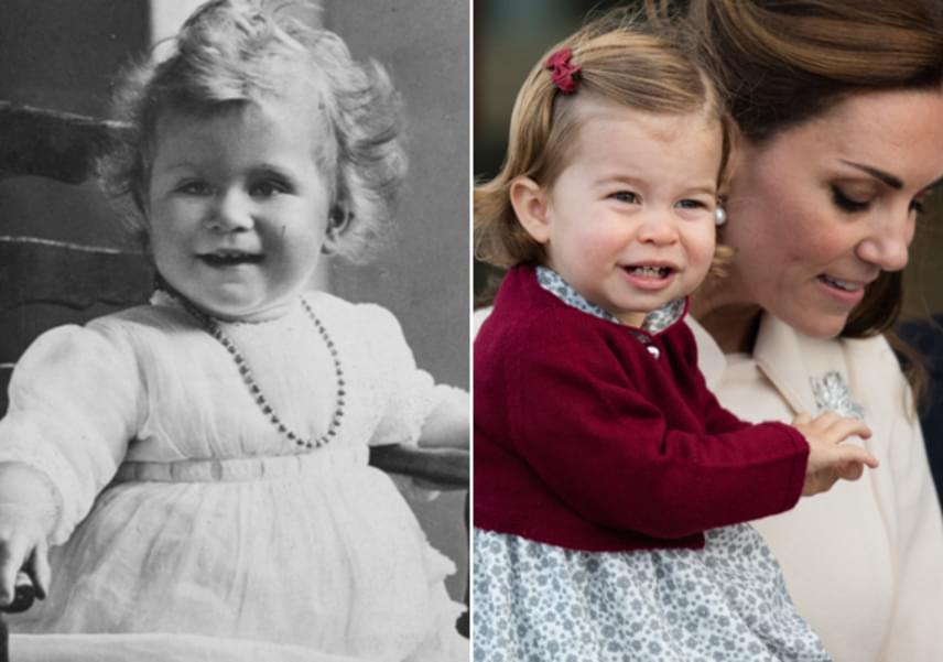 A másfél éves Charlotte hercegnő tekintete, szája, arcformája, sőt még a fogacskái is olyanok, mint a dédnagymamájáé, Erzsébet királynőé.