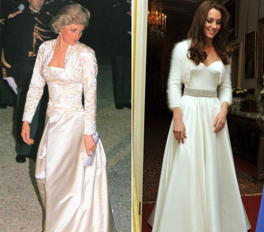 Angyalian festenek hófehér estélyiben, amit mindketten egy kis boleróval dobtak fel. Diana a gyöngyös díszítésre, míg Katalin a műszőrmére szavazott.