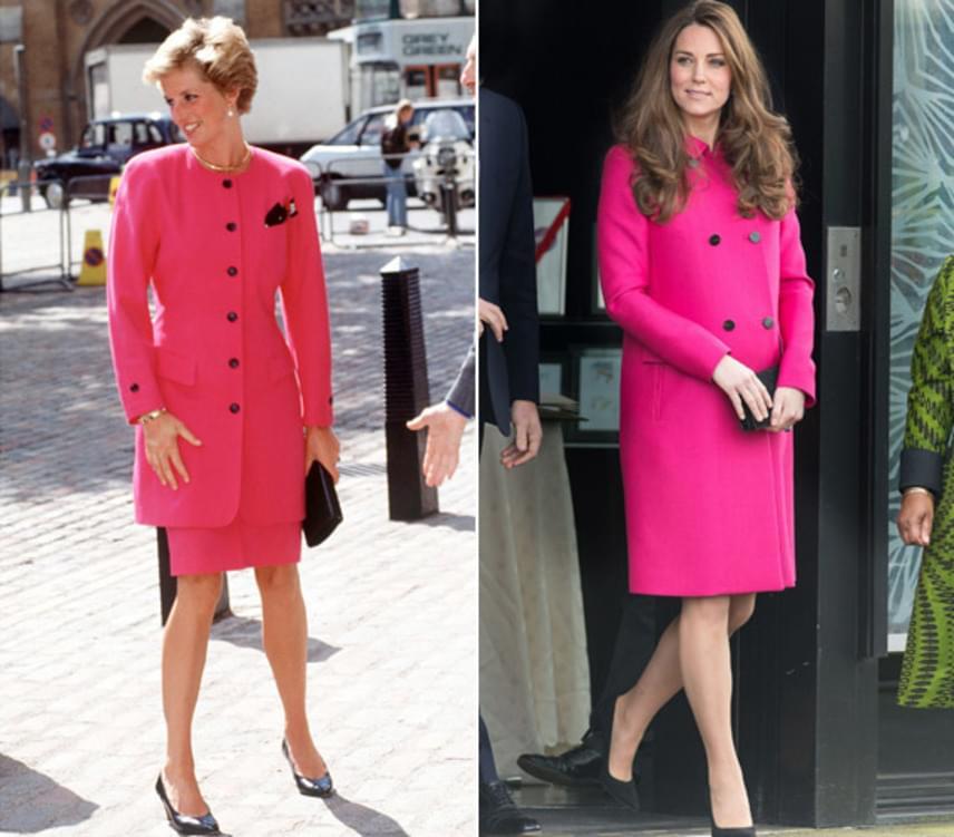 Mindkettejüknek remekül állt ez a pink kabátruha. A különbség csak annyi, hogy Dianáé jóval testhezállóbb, míg Katalin egy bővebb fazonúra voksolt.