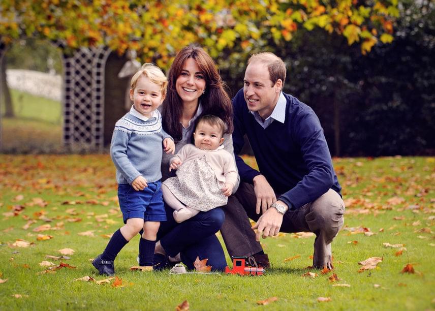 A királyi család 2015-ös hivatalos karácsonyi képén is imádnivaló a két csöppség, akik a jelek szerint nagyon jól érezték magukat a Kensington-palota kertjében.