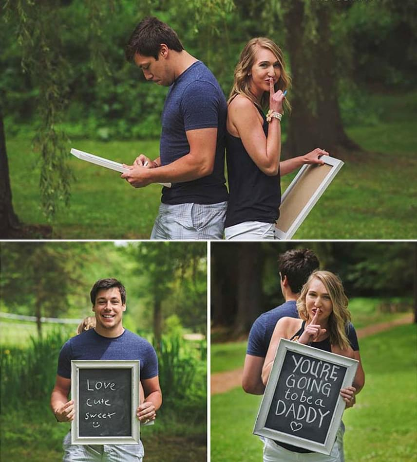 A fotózás egy gyönyörű zöld területen zajlott, a pár pedig azt a feladatot kapta a fotóstól, hogy mindketten írjanak három-három szót a táblájukra, ami egymásról az eszükbe jut. Bri tábláját már előre elkészítették: alig várta, hogy megmutathassa Brandonnak.