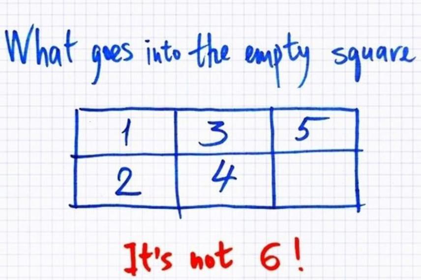 Mi hiányzik az üres négyzetből? Nem a 6-os! A következő képen megnézheted a megoldást.