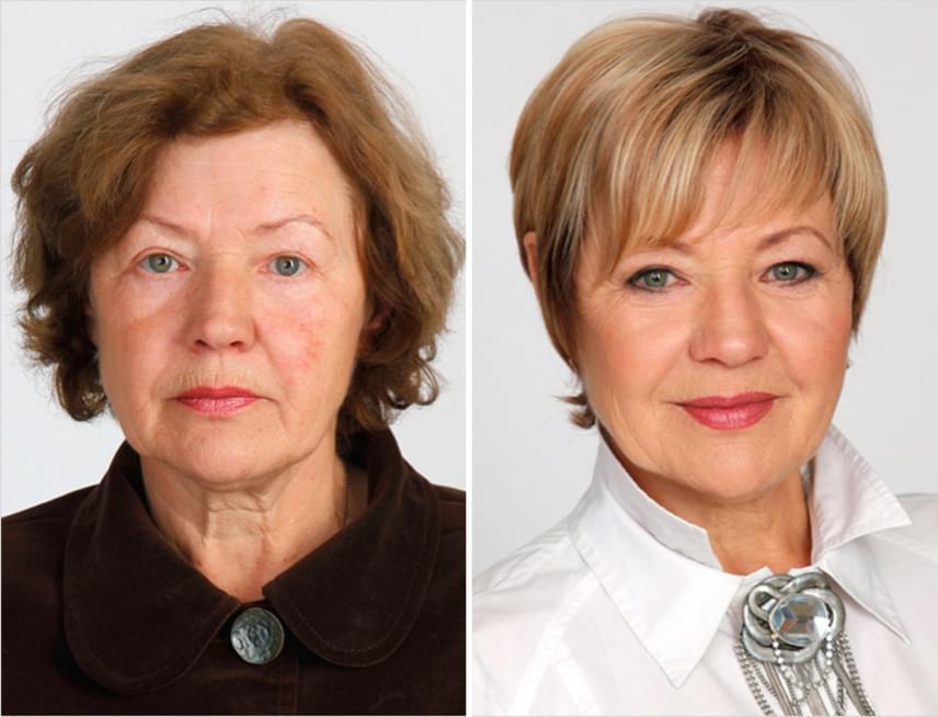 A jól eltalált frizura optikailag olyan látványos hatással bír, hogy szinte hihetetlen, hogy a két képen ugyanaz a nő szerepel.