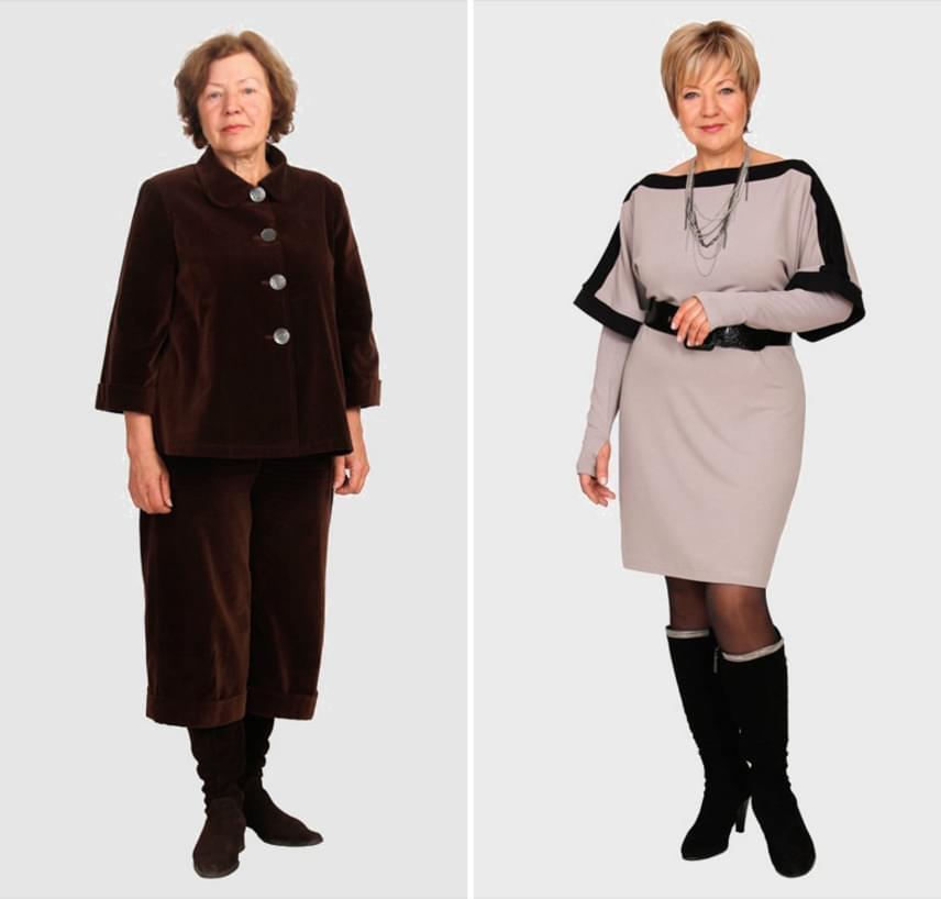 A nagyon előnytelen szabású barna kosztüm után hihetetlen változásnak hat ez az alakformáló, ultranőies szett.