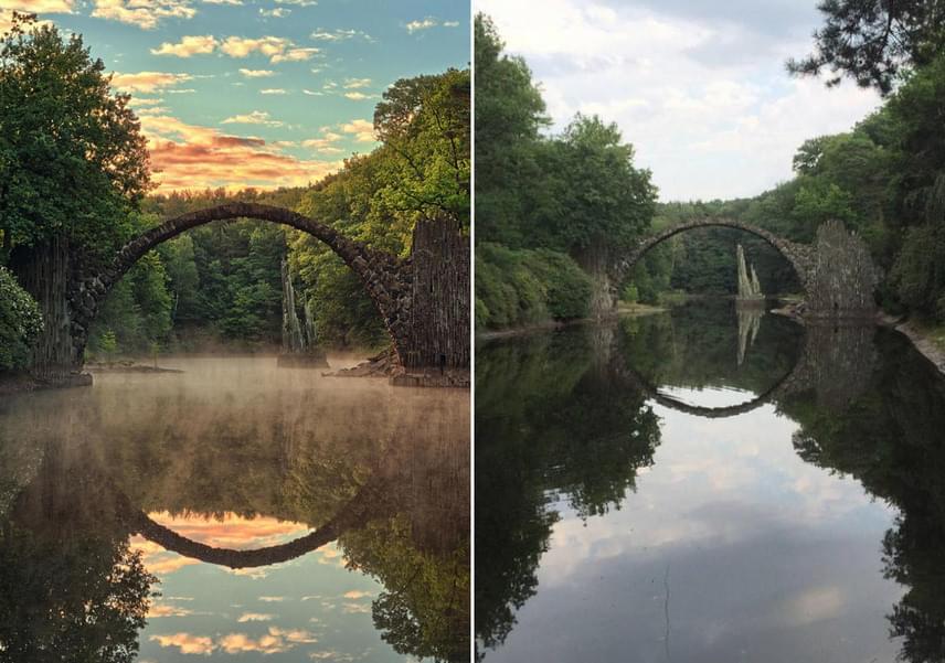 A németországi Rakotz híd sokkal hívogatóbb az utólag beállított színek és fényviszonyok között.