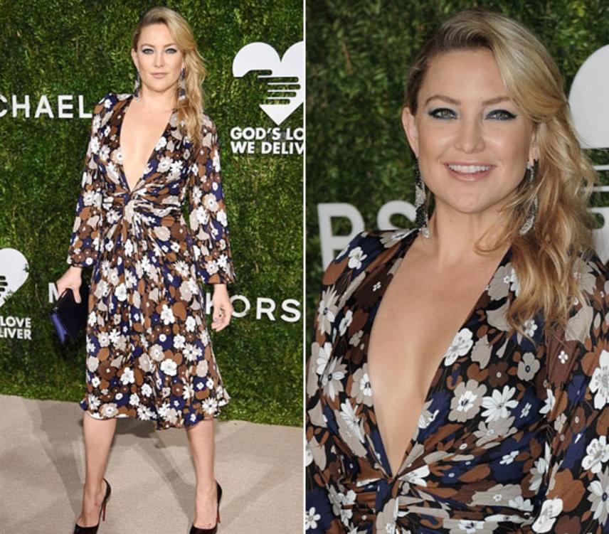 Kate Hudson a híres divattervező, Michael Kors 2017-es tavaszi kollekciójából választotta ki ezt a ruhát, amit 1995 dollárért, vagyis több mint félmillió forintért lehet megvenni.