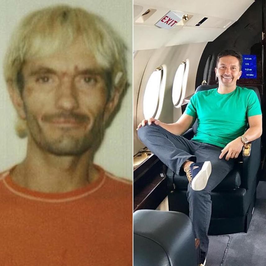 Ilyen volt és ilyen lett Khalil Rafati: a bal oldali fotón még kábítószerfüggő hajléktalanként, jobb oldalon pedig napjainkban, magángépében ülve láthatod. 2001-ben majdnem meghalt heroin-túladagolás miatt, de csak 2003-ban kért segítséget.