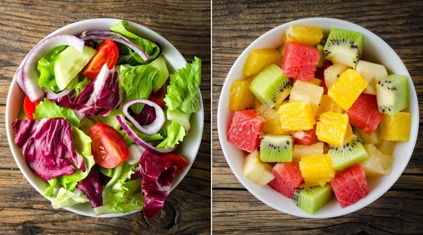 Mivel a diéta során gyakran a megszokottnál kisebb mennyiségű ételből kell fedezned szervezeted vitaminszükségleteit, jó, ha naponta legalább egyszer így néz ki a tányérod. A rengeteg zöldség és gyümölcs feltölti a testedet az egészséges működéshez szükséges tápanyagokkal, így elkerülheted a hiánybetegségeket, amelyek gyakran jelentkeznek diétázóknál.