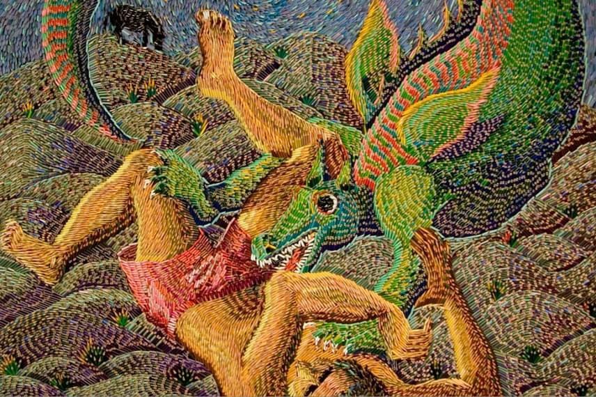 Federico Uribe főleg kétdimenziós, de nagyobb volumenű, festményszerű műveket hoz létre.