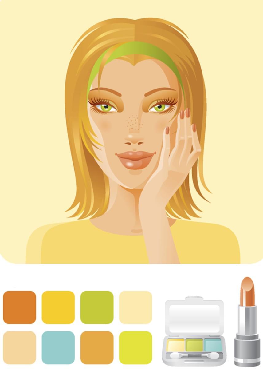 A tavasz típust jellemzően az arany árnyalatok uralják - aranybarna, mézszőke haj, barackszínű vagy rózsás arc, a szemet is gyakran aranyszínű pöttyök tarkítják. Ha te is tavasz típus vagy, az arany vagy sárgás alaptónusú, meleg pasztellszíneket válaszd a sminkedhez! Amivel abszolút sikered lesz, az a rózsás vagy barackszínű arcpír.Ha tavasz típusba tartozol, a képen látható színek lesznek számodra tökéletesek!