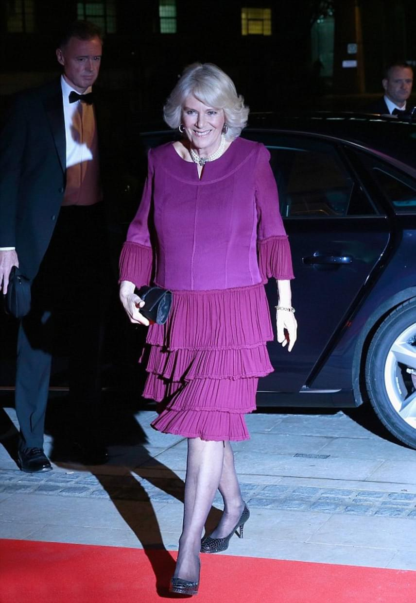 Ilyen elegánsan érkezett Kamilla hercegné a díjátadóra. Többször hordhatna ilyen színű ruhát, fantasztikusan állt rajta ez a fodros darab.
