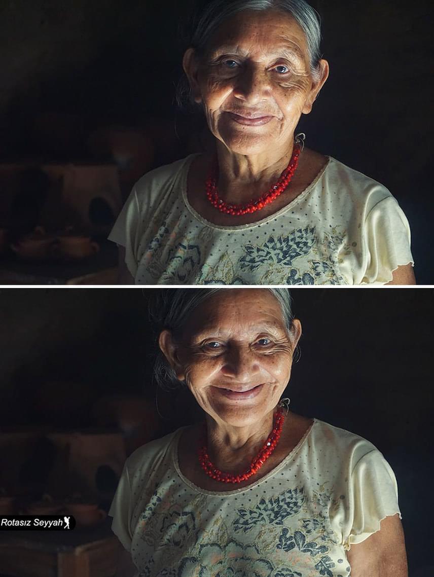 A művész nagy népszerűségre tett szert a közösségi oldalakon, Facebook- és Instagram-oldalán rengeteg követője van. Ezen a képen Fidelina Cortes látható, aki 75 éves, és El Salvadorban lakik.