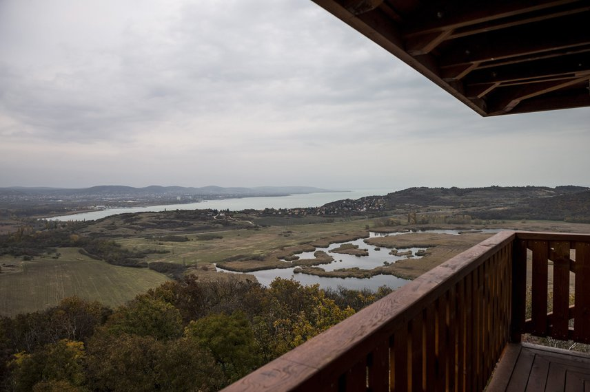 A felső emelet padlómagassága tíz és fél méter, a lombkoronák feletti körpanoráma pedig csodálatosan szép. Kilátás nyílik innen többek között a Külső-tóra, Tihanyra, a környező parti településekre és természetesen a kéklő Balatonra is.