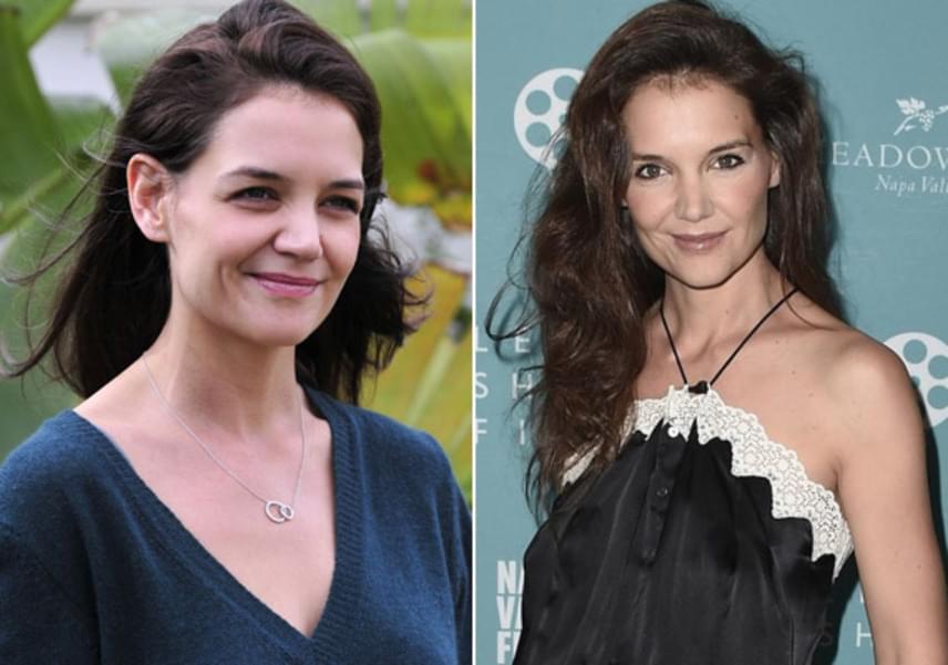 Három héttel ezelőtt készült a bal oldali fotó Katie Holmesról - Los Angelesben kapták le a fotósok kislányával -, míg a jobb oldali képet hétvégén lőtték róla. Jól látható, hogy mennyit fogyott - kissé be is esett az arca a súlyvesztéstől.