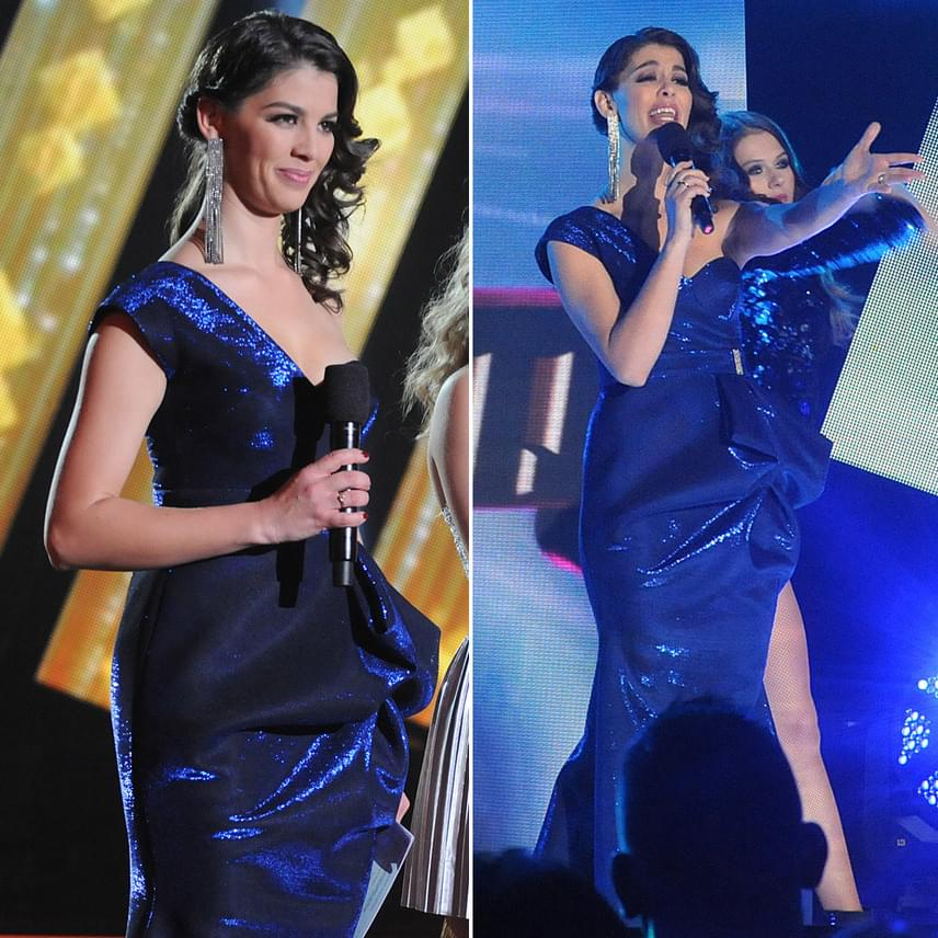 Ördög Nóra a Star Academy hétvégi döntőjében igazi díva volt: egy csillogó, kék, aszimmetrikus estélyi ruhában ragyogott.
