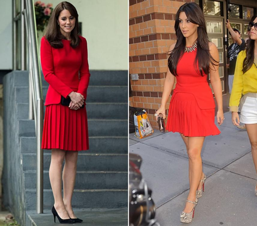 Kim Kardashian még 2011-ben viselte ezt az Alexander McQueen-ruhát, a cambridge-i hercegnét pedig négy évvel később fotózták le ugyanebben a ruhában, igaz, akkor egy kabáttal egészítette ki.