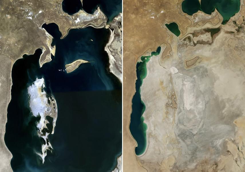 Az Aral-tó Kazahsztán és Üzbegisztán határvidékén elhelyezkedő sóstó, mely 1960-ban még a Föld negyedik legnagyobb tava volt, de mára három kisebb tóra osztódott. Napjainkra a tavat korábban tápláló egyik folyó sem éri el a folyamatosan pusztuló Aral-tavat. A bal oldali fotó 2010 augusztusában, a jobb oldali fotó 2014 augusztusában készült.