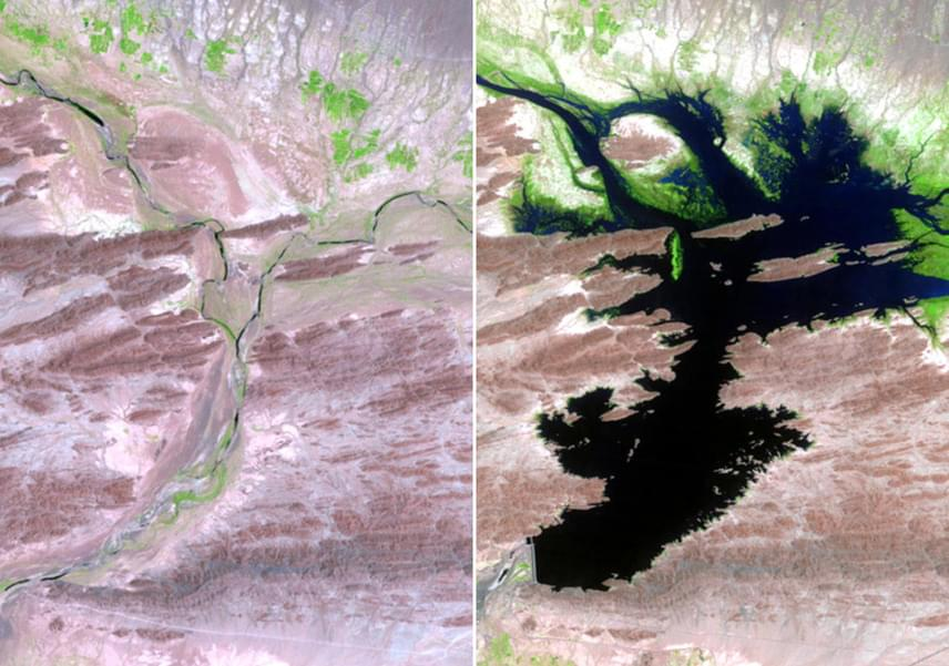 Szerencsére pozitív változásokat is dokumentáltak: a pakisztáni Dasht folyó korábban a Kech folyó szezonálisan áramló keleti mellékfolyója volt, de ráépítették a Mirani-gátat, melynek köszönhetően a Dasht állandó öntöző- és ivóvízellátást biztosít a környező településeken. A bal oldali fotó 1999 augusztusában, a jobb oldali fotó 2011 júniusában készült.