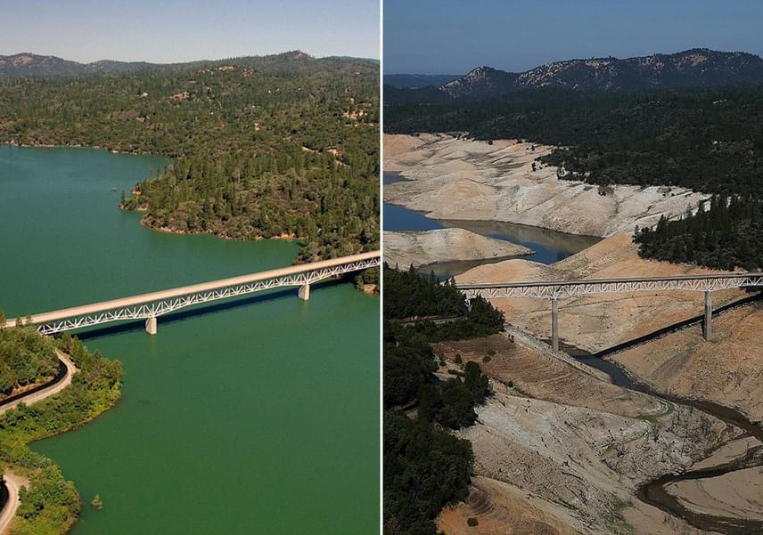 Az észak-kaliforniai Oroville-tó korábban az állam második legnagyobb víztározójaként volt ismert. Az erős aszály miatt 2015-re a meder kapacitásának mindössze 39%-át töltötte ki víz, és ez azóta is folyamatosan csökken. A bal oldali fotó 2010 júliusában, a jobb oldali fotó 2016 augusztusában készült.
