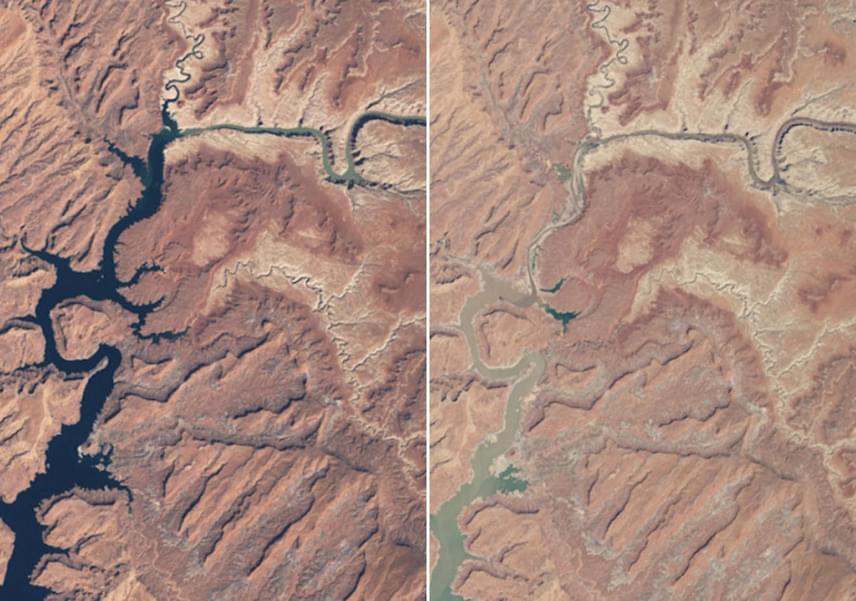 A Powell-tó egy, a Colorado folyó felduzzasztásával kialakított mesterséges tó Arizona és Utah államok határán, mely a folyó utóbbi években produkált alacsony vízhozamai miatt messze a névleges teljesítménye alatt működik. A bal oldali fotó 1999 márciusában, a jobb oldali fotó 2014 májusában készült.