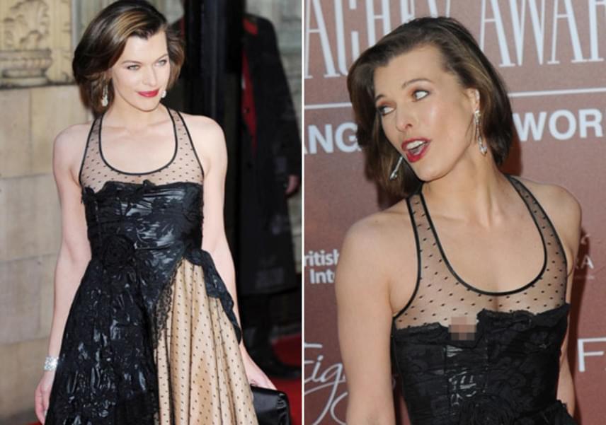 Milla Jovovich tapasza sem tartott megfelelően: a Kaptár-filmek sztárjának még a mellbimbója is kivillant miatta a ruhából.