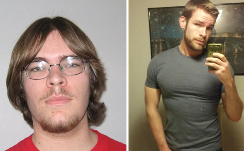 Kilenc év különbség egy képen: az első fotón elsőéves hallgatóként szerepel a fiú, a második képet pedig 25 éves korában készítette magáról. A változás elképesztő.