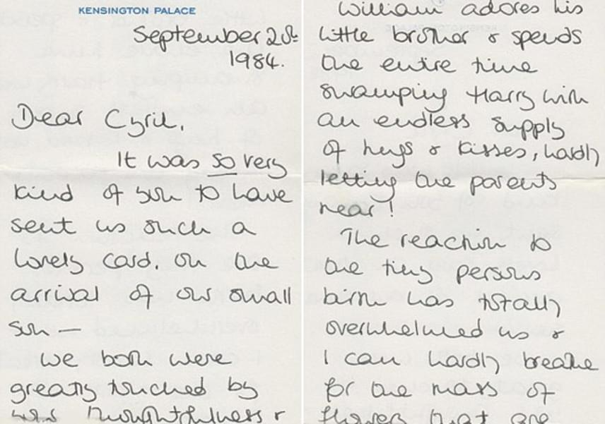 1984. szeptember 20-án írt levelében megköszöni a férfi jó kívánságait újszülött kisfiához, Harry herceghez. Leírja azt is, Vilmos herceg mennyire odavan a piciért:                         - Vilmos odavan a kisöccséért, minden percét vele tölti, elhalmozza ölelésekkel és puszikkal - minket alig akar odaengedni hozzá! - írta a levélben.
