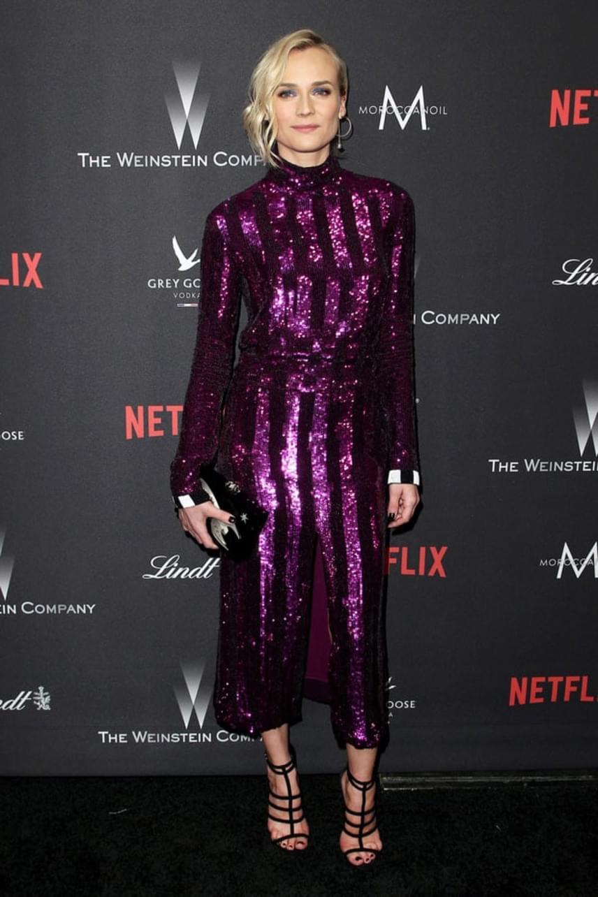 Diane Kruger rengeteget fogyott a szakítása óta. Ebben a csillogó, padlizsánlila overallban mutatta meg, hogy milyen dögös.