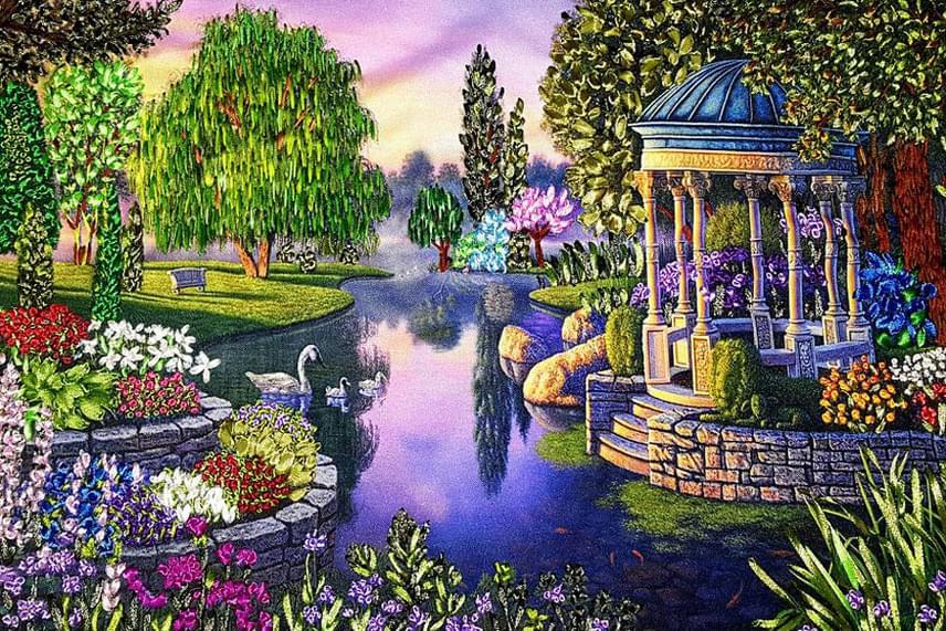 Gyönyörű, telt színek és részletgazdag ábrázolás: mintha nem egy hímzett képet, hanem egy aprólékosan kidolgozott festményt néznénk.