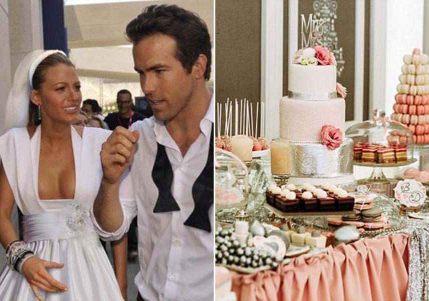 Az édesszájú Blake Lively és Ryan Reynolds nem tudtak választani az édességek közül, úgyhogy végül barátnőjük, Martha Stewart ugrott be, és összedobott nekik egy extravagáns sütis asztalt, amin a pitétől a macaronig, az áfonyás kosárkától a sajttortáig minden volt.