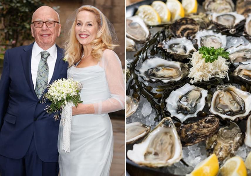 Jerry Hall is elég extrém fogást választott az esküvői svédasztalra: nyers osztrigát csemegézhettek a vendégek a lagzin.