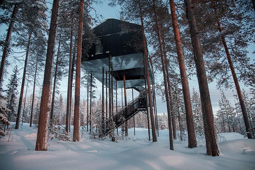Az erdő közepére megálmodott, fából készült hotelt a Snøhetta nevű vállalat tervezte. Az épület tíz méter magasan, a fenyők lombjai között van, ezzel az ember és természet összhangját szerették volna hangsúlyozni.