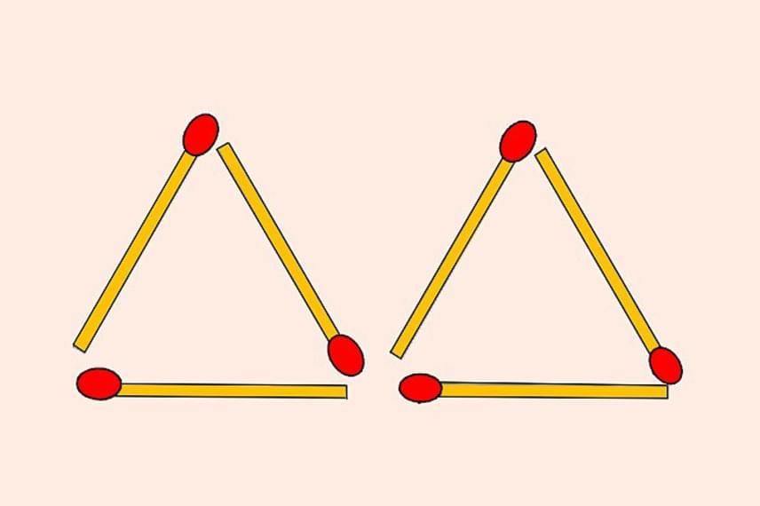 A képen hat gyufaszálat látsz, melyek két háromszöget alkotnak. Mozdíts el két gyufát úgy, hogy összesen négy háromszög jöjjön létre! A szálak fedhetik egymást. Lapozz tovább a megoldásért!